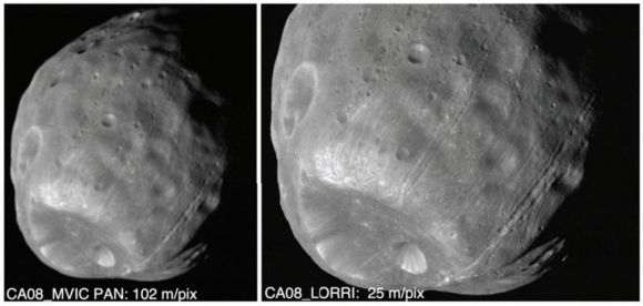 Simulación de cómo verán las cámaras de New Horizons a 2014 MU69 (suponiendo un tamaño de 32 km) (lo que se ve en la imagen obviamente es Fobos) (NASA).