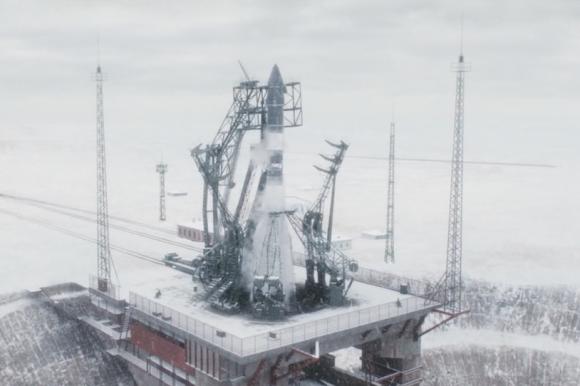 El cohete Vosjod en la rampa de lanzamiento de Baikonur.