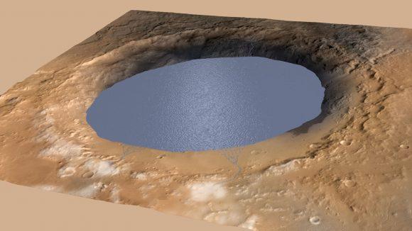 Reconstrucción del lago del cráter Gale (NASA/JPL-Caltech).