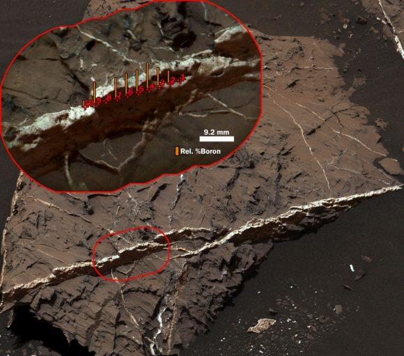 Curiosity descubrió boro en vetas de sulfato de calcio en agosto de 2016 (NASA/JPL-Caltech/MSSS).