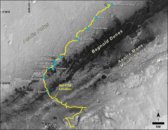 Trayectoria de Curiosity en el cráter Gale desde agosto de 2012 hasta julio de 2017 (NASA/JPL-Caltech/MSSS).