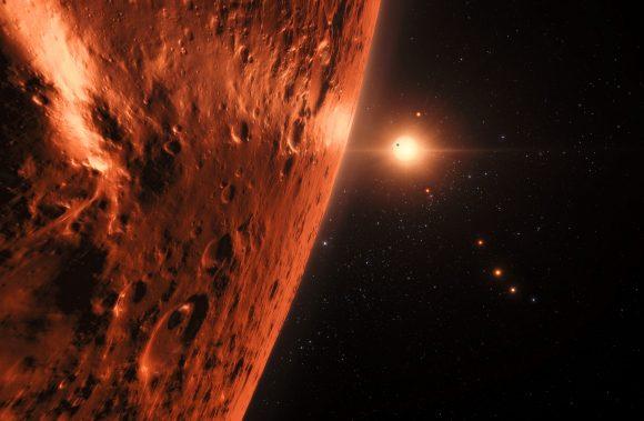 Impresión artística poco optimista de la superficie de uno de los mundos de TRAPPIST-1 (ESO/N. Bartmann/spaceengine.org).