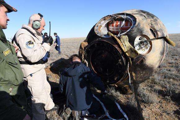La cápsula Soyuz MS-02 en tierra (Roscosmos).