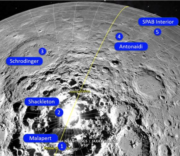 Zonas de interés en el polo sur lunar (ESA).