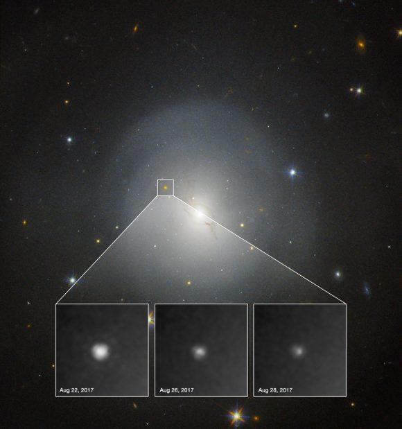Detalle de la contrapartida óptica vista por el Hubble (NASA and ESA. Acknowledgment: A.J. Levan (U. Warwick), N.R. Tanvir (U. Leicester), and A. Fruchter and O. Fox  /STScI)).