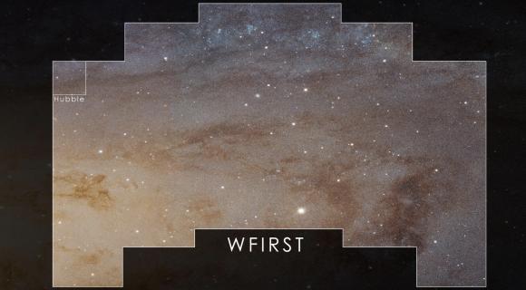 Comparativa del campo de visión de WFIRST y el del Hubble (NASA).