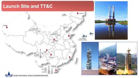 Centros de lanzamiento y estaciones de seguimiento de China.