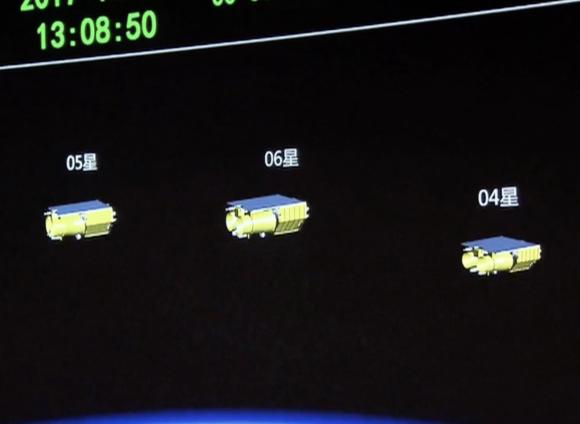 Los tres satélites en órbita (CCTV).