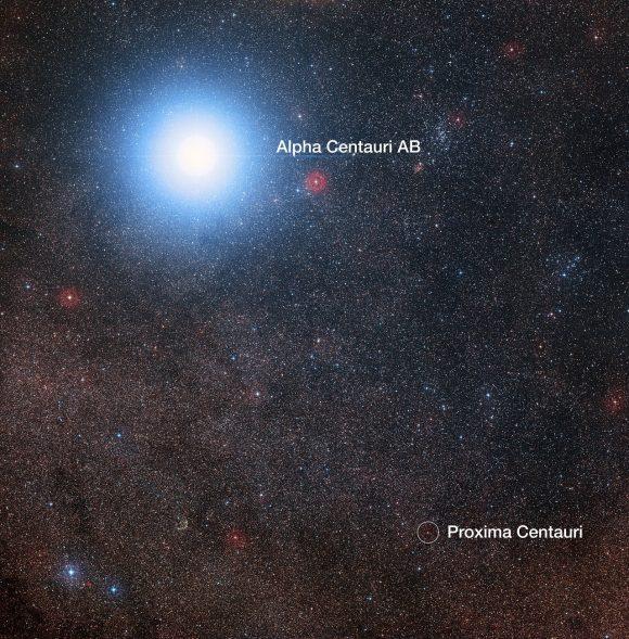 Las estrellas Alfa Centauri A y B y Proxima Centauri en el cielo (ESO).