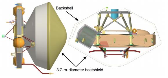 Dragonfly y su escudo térmico (NASA).