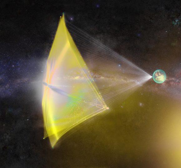 Una vela láser acelerando para alejarse de la Tierra (Breakthrough Starshot).