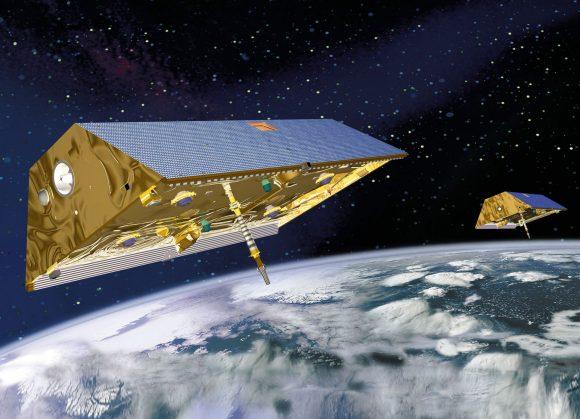 Satélites GRACE FO para estudiar el campo gravitatorio terrestre (NASA).