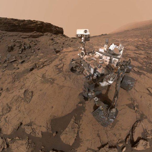 Rover Curiosity en el cráter Gale (NASA).