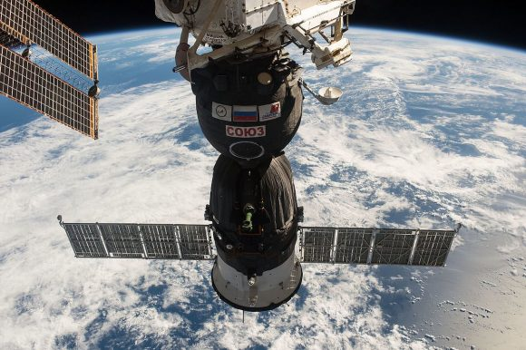 Nave Soyuz MS-01 acoplada a la ISS (NASA).