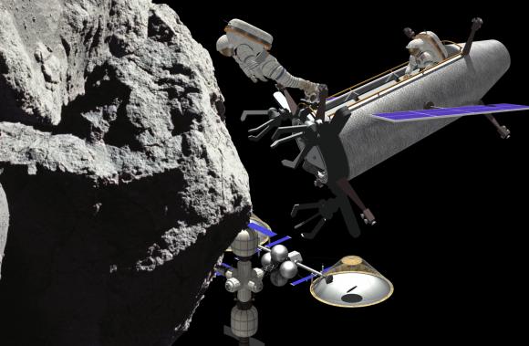 La tripulación de la DSES se acerca a un asteroide (TransAstra).