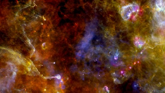 El cielo en el infrarrojo lejano visto por el telescopio espacial Herschel de la ESA (ESA).