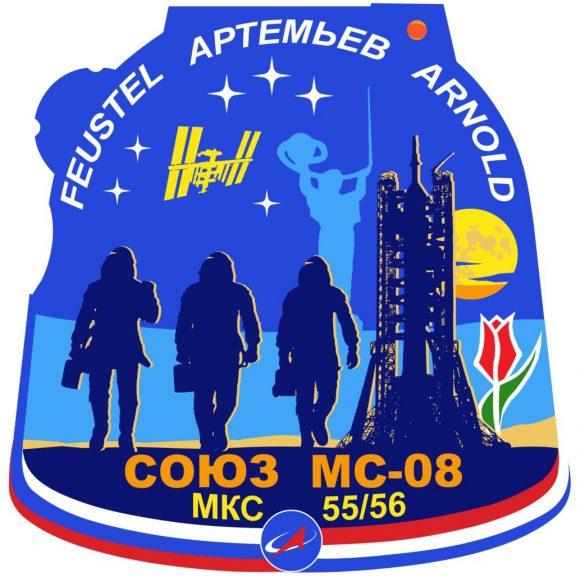 Emblema de la Soyuz MS-08, con la forma de la cápsula (SA) de una Soyuz (Roscosmos).