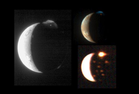 Ío visto por la New Horizons con los instrumentos LORRI (izquierda), MVIC (derecha, arriba) y LEISA (abajo, derecha). Se aprecia la erupción de Tvashtar  (NASA/Johns Hopkins University Applied Physics Laboratory/Southwest Research Institute).