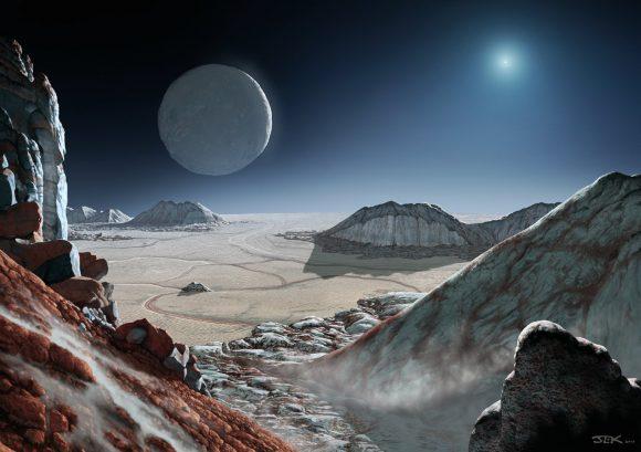 Recreación artística de las montañas de hielo de agua de Plutón sobresaliendo del hielo de nitrógeno de Sputnik Planitia (John Kaufman).