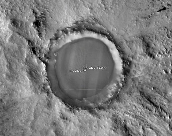 Cráter Korolev (Google Earth).