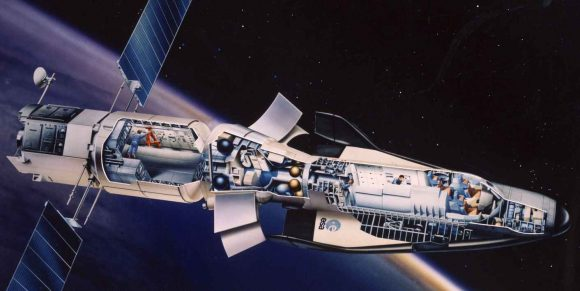 Módulo europeo MTFF de finales de los años 80 con el Hermes acoplado (ESA).