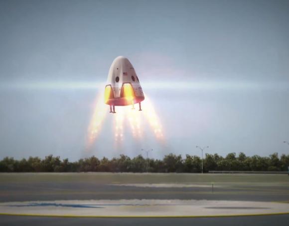 Simulación de la Dragon 2 de 2014 aterrizando (SpaceX).
