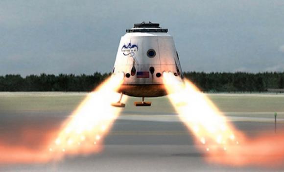 La Dragon 2 original aterrizando propulsivamente (SpaceX).