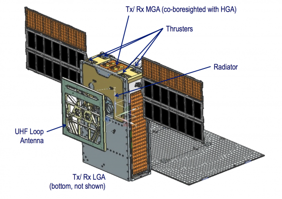 Detalle de la antena UHF de MarCO (NASA).