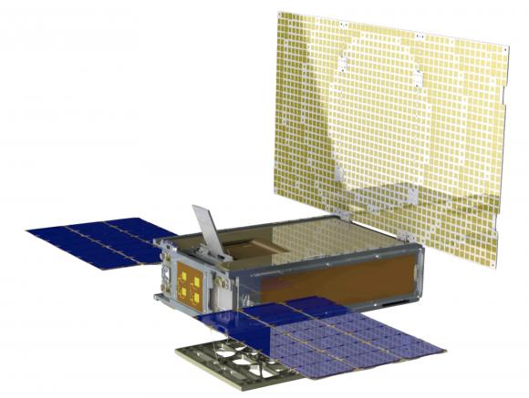 MarCO. En amarillo la antena de alta ganancia en banda X (NASA).