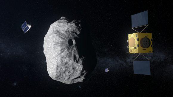 Diseño actual de Hera, la reencarnación de AIM, estudiando el cráter dejado por DART (ESA).