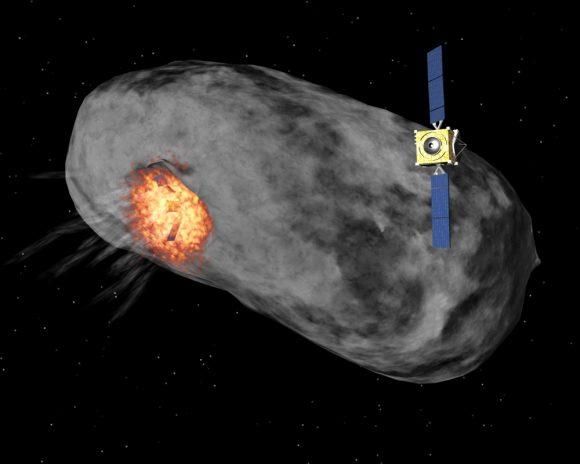 La sonda Sancho contempla el choque de Don Quijote contra un asteroide cercana (ESA).