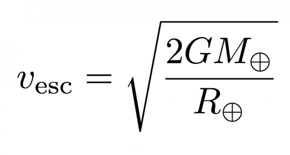 Fórmula para calcular la velocidad de escape de un cuerpo (Hippke).