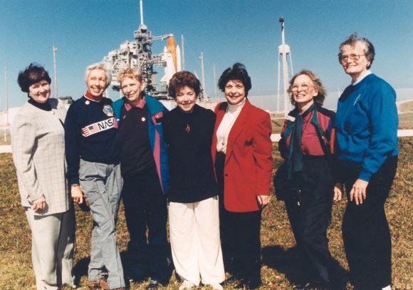 Gene Nora Jessen, Wally Funk, Jerrie Cobb, Jerri Truhill, Sarah Rutley, Myrtle Cagle and Bernice Steadma