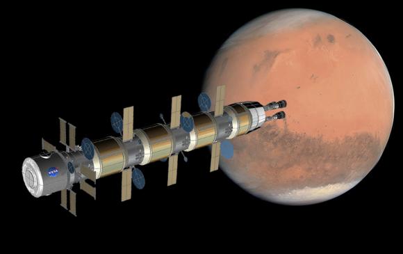 Usando propulsión nuclear para viajar a Marte desde la estación Gateway