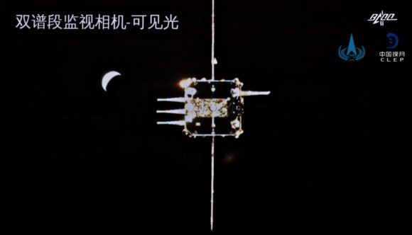 Acoplamiento en órbita lunar de la misión Chang'e 5 para trasladar las muestras de la superficie
